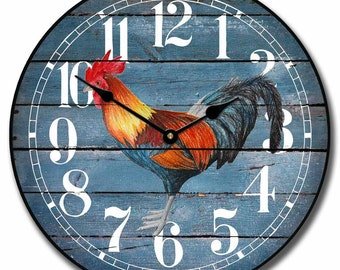 Barnwood Blue Rooster Wall Clock