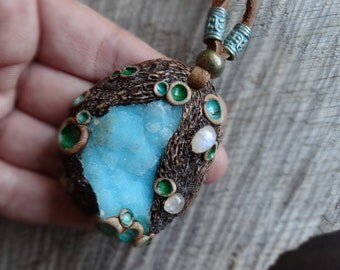 SHIPPING INCLUDED Moonstone and Gem Silica Chrysocolla Pendant