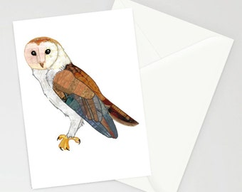 Barn owl patchwork A6 greetings card