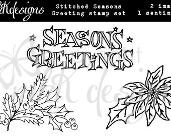 Stitched Season's Greetings Digital Stamp Set