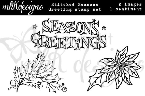 Stitched Season's Greetings Digital Stamp Set