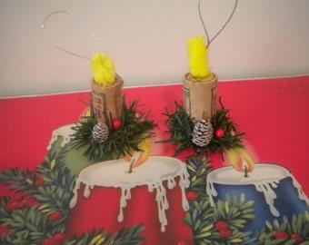 OOAK Christmas Candle Ornament..Handmade..Pair..Cork..Vintage Poker chip..Christmas Tree