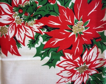 Vintage 50s New Old Stock CHRISTMAS HoLIDAY Tablecloth RED GoLD CaNDLE CANdELABRA WhITE PoINSETTIA MiNT With PaPER LaBEL NOS Pristine McM