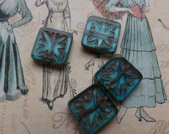 Czech glass beads, compass beads,pressed glass beads, blue beads