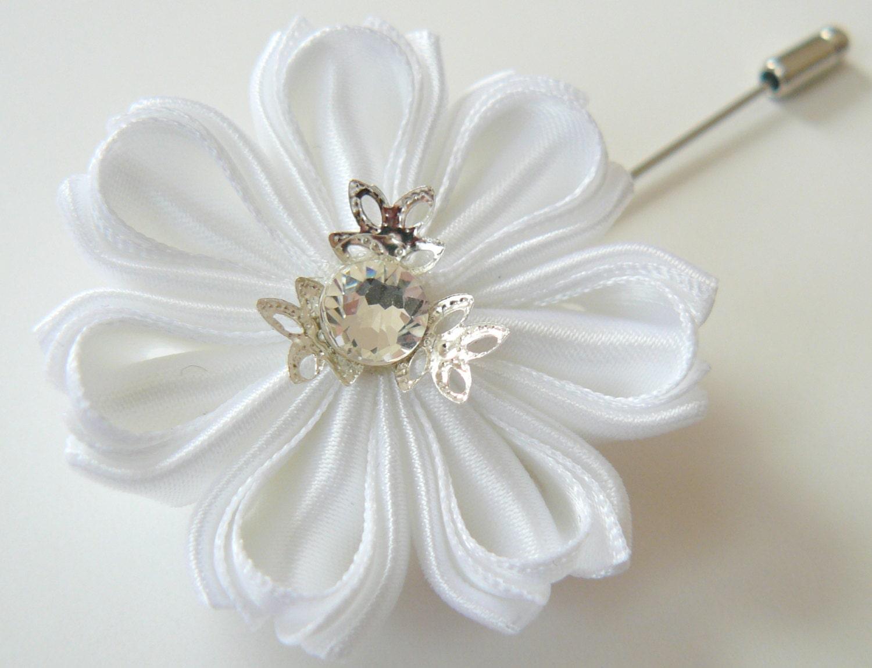 Men s Flower Lapel Pin Kanzashi fabric flower brooch