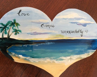Solid thick wood heart with beach scene - love comes unexpectedly