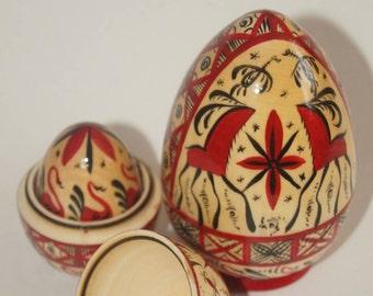 Nesting egg, matryoshka egg, 5 in 1, Mezen painting