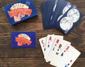 english educational cards • improves spelling and vocabulary • complete with original box • 1950's card game