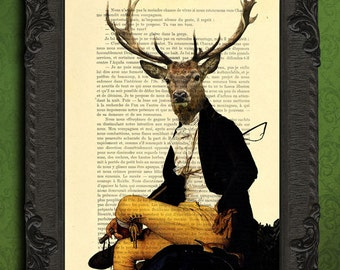 deer art print, cabin decor, deer decorations living room stag poster dictionary page, deer illustration wall hanging wall art deer artwork