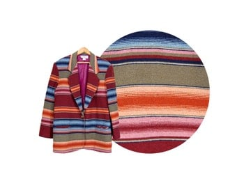 Large Maroon Striped Navajo Jacket by Westbound // Made in USA // E84