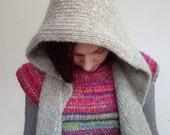 Handmade grey wool hood / hooded scarf