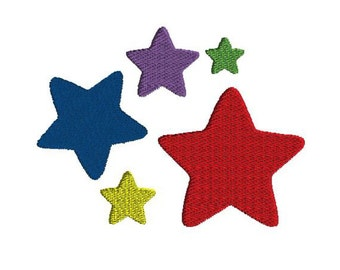 Mini Star Embroidery Design, 5 sizes, filled stitch, digital download, machine embroidery design