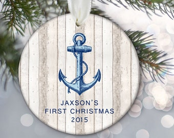 Baby's First Christmas, Anchor Ornament, Personalized Kids Ornament, Nautical ornament, Personalized Christmas Ornament, Custom anchor OR718