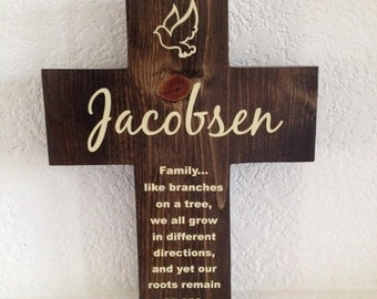 Cross gift for Home  - Handmade & Personalized 9X12 Family like branches on a tree, we will grow in different directions, root remain one
