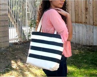 Canvas Tote Bag with Black and White Striped Pockets