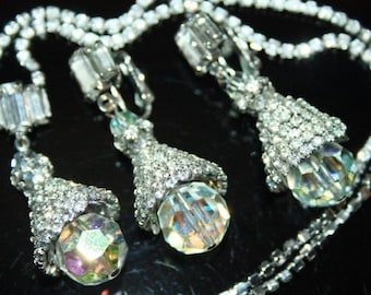 Unsigned Hattie Carnegie Demi Parure Auroraborealis Crystal and Rhinestone Necklace and Earrings