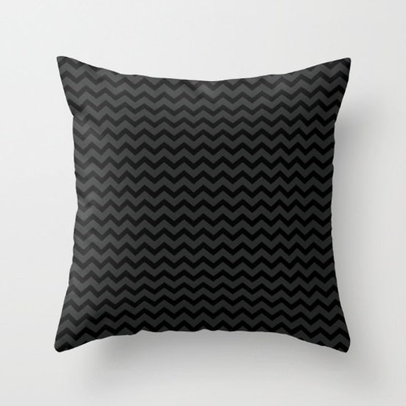 Small Gray Decorative Pillow : Black and Gray Small Chevrons Throw Pillow Cover Includes