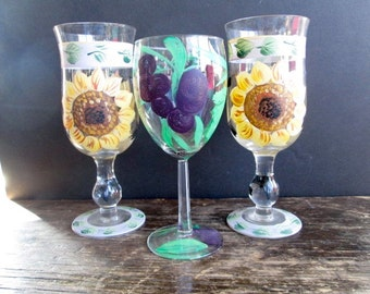 3 Artist Hand Painted Wine Glasses
