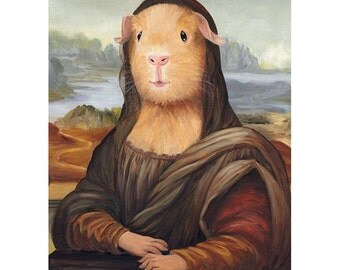 Guinea Pig Prints, Mona Lisa Guinea Pig Art, Animals in Clothes