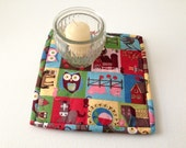 Farm Hot Pad, Owl Candle Mat, Farm Mug Rug, Country Trivet, Barn Trivet