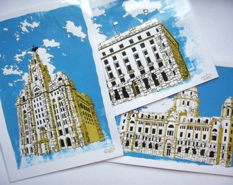 The Liverpool Three Graces | Pack of three A3 prints (29x42cm)