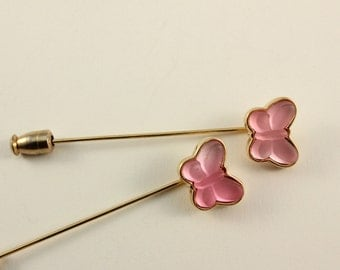 Set of Two Pink Butterfly Stick Hat Pins (vintage retro spring easter thermoset gold tone pretty small little dainty cute lot)