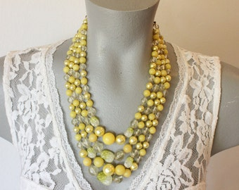 Vintage Japan Four Strand Bright Yellow and Clear Plastic Bead Necklace (retro 50s 60s lucite colorful bright chunky wedding bridal spring)