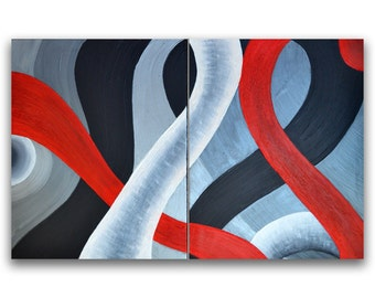 Red white black silver abstract paintings,  fun wall art decor, set of two acrylic canvas art