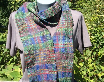 Hand woven scarf, two different variegated yarns, soft and light-weight
