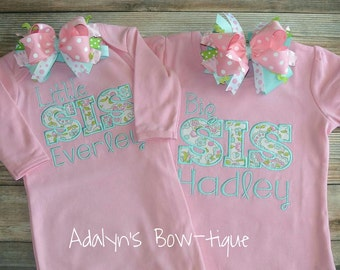 Big sis and little sis embroidered applique personalized girls shirt and baby gown