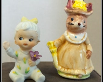 Vintage Mouse and Baby Girl Ceramics
