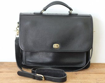 COACH Colebrooke Small Briefcase 5181/ Coach Black Leather Colebrook Messenger Bag/ Laptop Computer School Bag