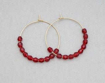 Siam Red Beaded Hoop Earrings, Modern Everyday Jewelry, Simple Boho Gypsy, Gift For Her, Earrings