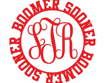 Boomer Sooner Cursive Monogram Decal
