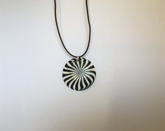 Striking black and white pendant