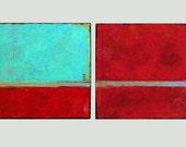 """Modern Wall Art, Original Painting, Contemporary Art  by Schöneberg """"Twins"""" 40x20x0,75 Canvas Art"""
