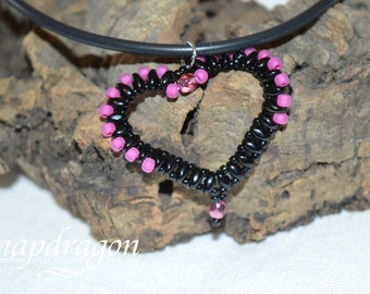 Black and hot pink beaded heart necklace