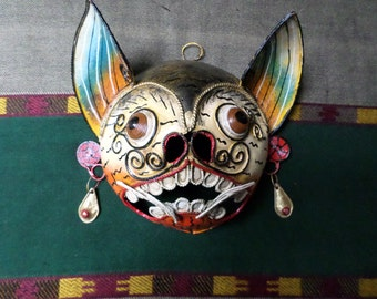 Vintage 1950s Mexican Folk Art Copper Mask Wall Nagual Cat Jaguar Guerrero