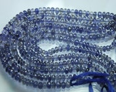 7 Inch Strand,Natural WATER SAPPHIRE IOLITE Micro Faceted Rondells,5-5.5mm Size,