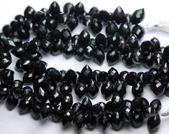20 Pcs,Super Finest,Black Onyx Faceted Dew Drops Briolettes 12-13mm Large Size