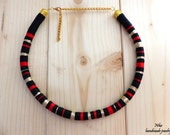 African tribal necklace. Wrapped rope necklace. Boho chic necklace. Aztec necklace. Block necklace. Tribal statement necklace.