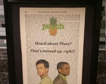 "Psych- Shawn and Gus- Antique Dictionary Art- ""Heard about Pluto?"""