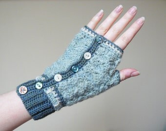 Hand Warmers / Fingerless Gloves, Green, Crochet