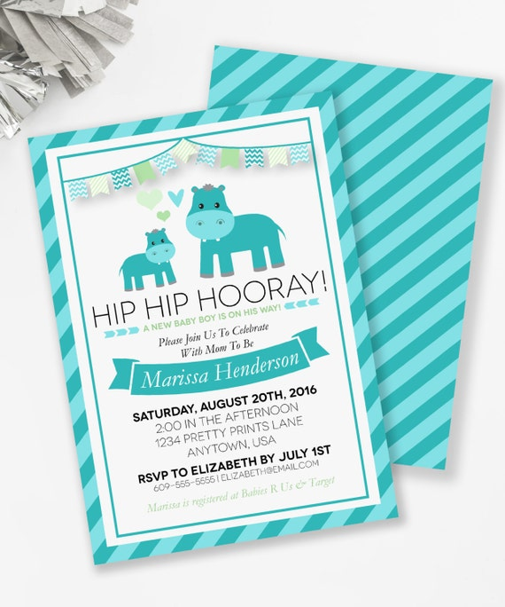 Hippo Baby Shower Invitation Hippo Couples Shower Blue Hippo