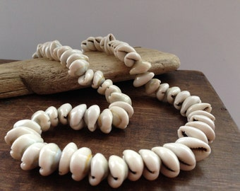 Vintage sea shell beads White nautical necklace Sea shells  jewelry Summer accessory
