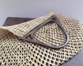Vintage Crocheted Handbag Handmade vintage Bag Large Crochet bag Beige summer bag