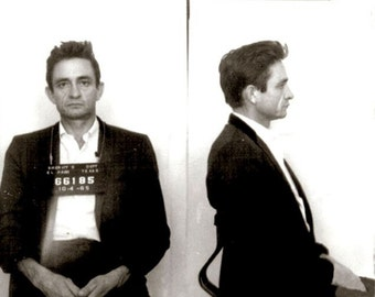 Johnny Cash, the man in black, Mugshot photo, Walk the line, Black and white, old, vintage antique, photography, picture, print, fine art