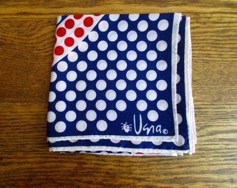 Vintage Vera Neumann Square Red White & Blue Polka Dot Scarf