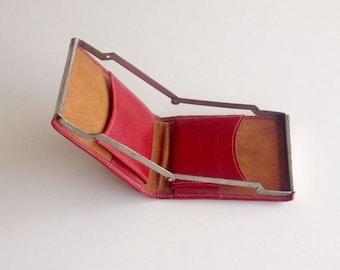 Vintage Leather Cigarette Case, Red Cigarette Holder,Card Case , Vintage Tobacco Smoking