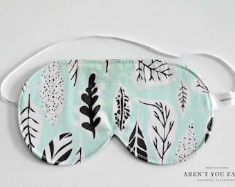 Eye Mask, Sleep Mask, Travel Mask, Handmade Cotton Modern Mint Leaf Pattern Mask by Aren't You Fancy
